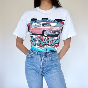 Vintage Car Racing Graphic T-shirt by Gildan